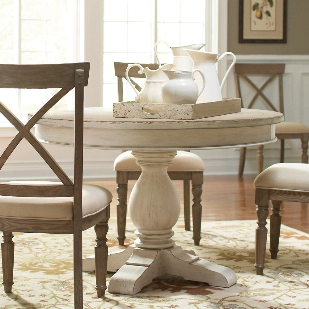 Cross Dark Tone Wood Round Table & 4 Upholstered Chairs