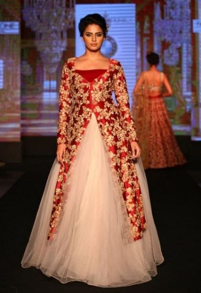 Simply get your own fabric and get it stitched and embellished in the way similar to these bridal wear and enjoy your own designed designer wedding dress