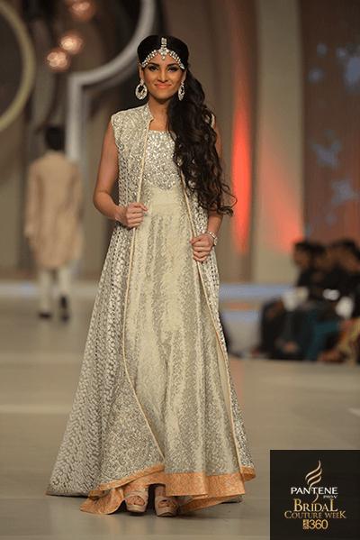 Latest Indian Designer Bridal Wear Beige Color Heavy Emb